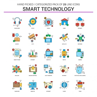 Smart technology flat line icon set