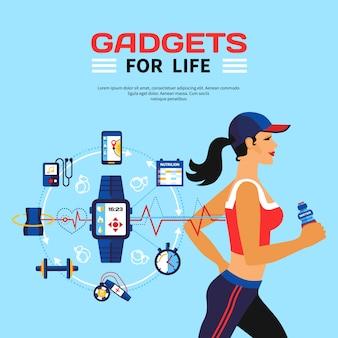 Умные технологии для фитнеса Бесплатные векторы