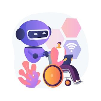 장애인을위한 스마트 기술 추상적 인 개념 그림