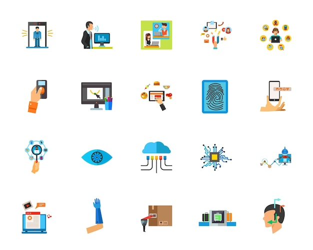 Smart technology icon set