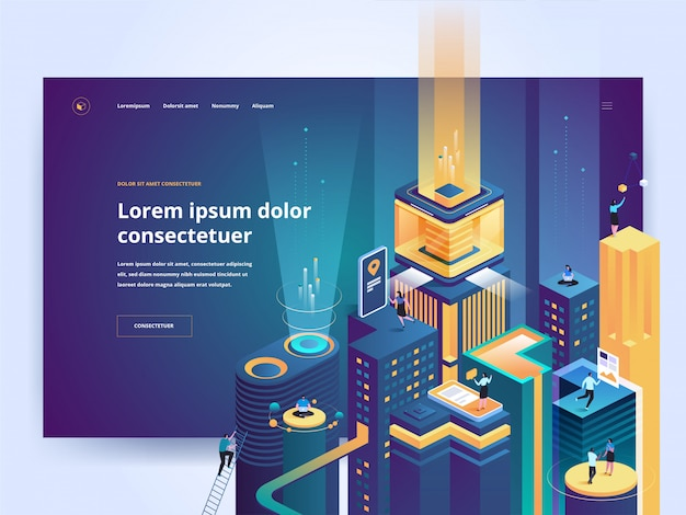 Smart technology landing page vector template