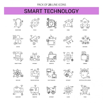 Smart technology line icon set - 25 dashed outline style