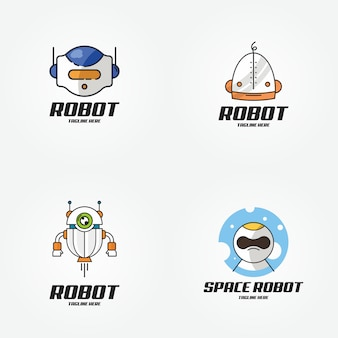 Smart technology robot future logo design