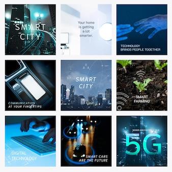 Smart technology vector template set