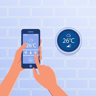 스마트 홈 개념으로 스마트 온도 조절기.