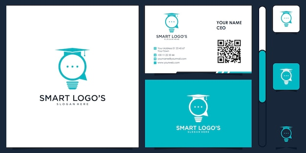 Smart think lamp logo with business card design vector premium