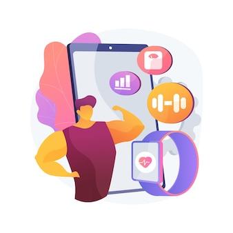 スマートトレーニング抽象的な概念ベクトルイラスト。スマートトレーニングのオンラインプログラムとツール、新しいジムテクノロジー、フィットネスコーチングアプリケーション、健康の改善、脂肪の減少、抽象的な比喩の調子を整えます。