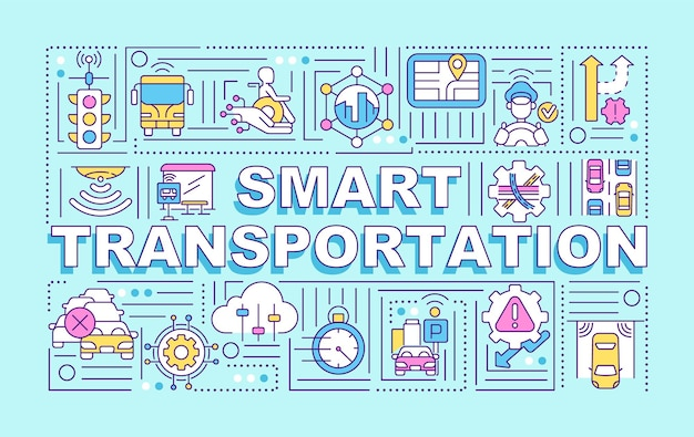 Smart transportation word concepts banner. traffic management. infographics with linear icons on blue background. isolated creative typography. vector outline color illustration with text
