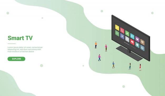 ウェブサイトのランディングホームページテンプレートのモダンなアイソメ図スタイルのスマートテレビアプリのアイコン-