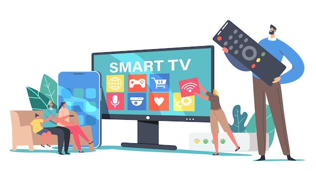 Концепция smart tv. крошечные семейные персонажи, сидящие на диване у себя дома у огромного телевизора, смотрят видео с помощью пульта дистанционного управления и мультимедийной приставки, цифровой сервис. мультфильм люди векторные иллюстрации
