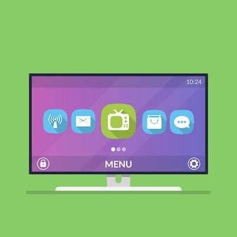 スマートテレビ。アイコンとスマートテレビ設定のメニュー。