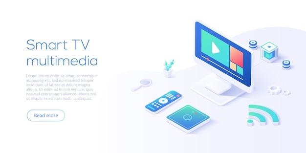 Мультимедийная концепция smart tv в изометрической векторной иллюстрации