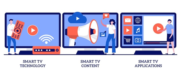Технология smart tv, контент, концепция приложений с крошечными людьми