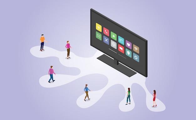 Технология smart tv с приложениями и люди с изометрической современный плоский стиль - вектор