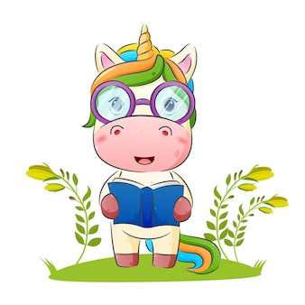 The smart unicorn is using a glasses and holding a book illustration