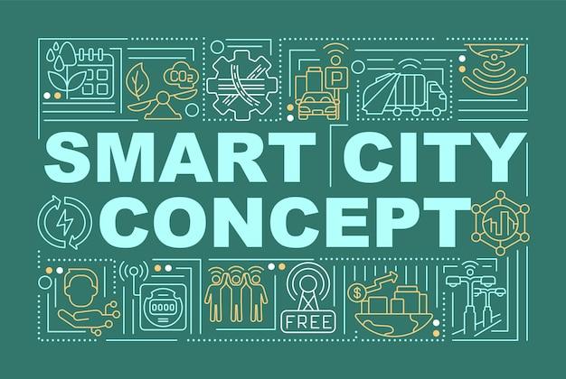 스마트 도시 지역 단어 개념 배너입니다. 도시의 지능형 관리. 녹색 배경에 선형 아이콘으로 인포 그래픽입니다. 고립 된 창조적 인 인쇄술. 텍스트와 벡터 개요 컬러 일러스트