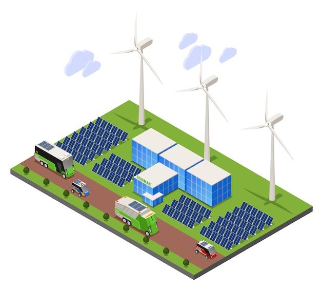 Composizione isometrica di ecologia urbana intelligente con scenario all'aperto e campo batteria solare con torri di turbine eoliche