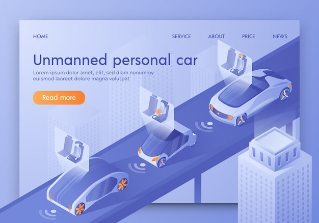 Smart vehicle with passengers sitting in cockpit.