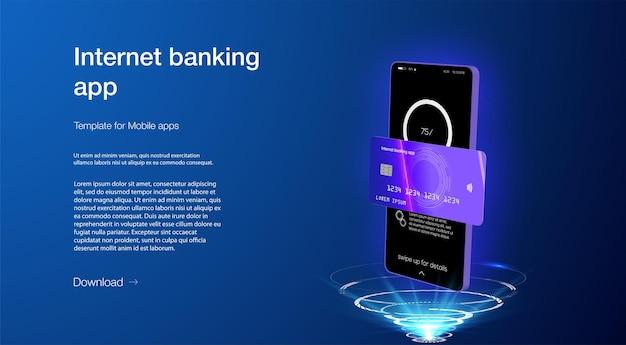 Концепция смарт-кошелька с приложением для оплаты кредитной или дебетовой картой на экране смартфона. приложение интернет-банкинга. оплата мобильного телефона с технологией nfc, безопасность платежей высокого уровня. экран электронных платежей