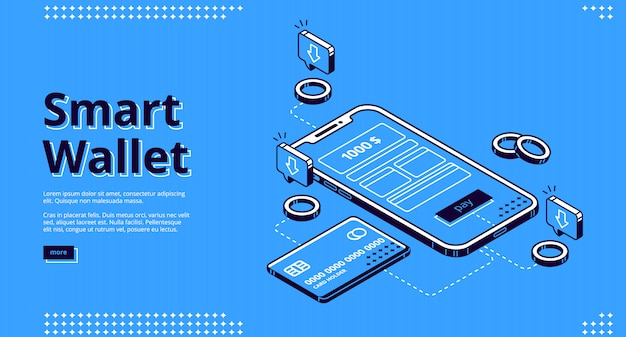 Smart wallet isometric landing page web
