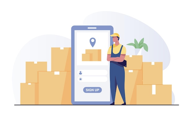 Smart warehouse management system app. employees log in on their phone with the warehouse control app.