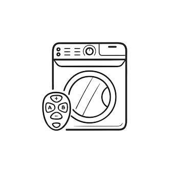 Smart washing machine with remote control hand drawn outline doodle icon. smart home laundry concept