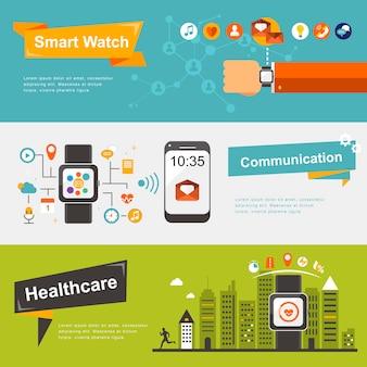 Smart watch banners design in flat design