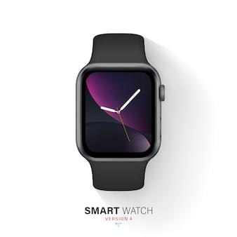 Smart watch black color aluminum case on white background.
