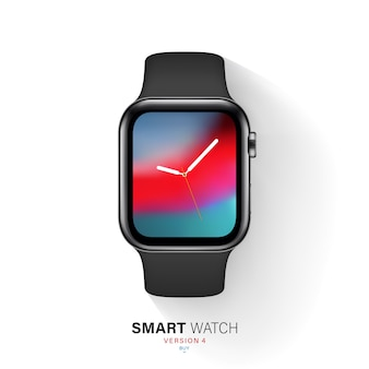 Smart watch black color steel case on white background