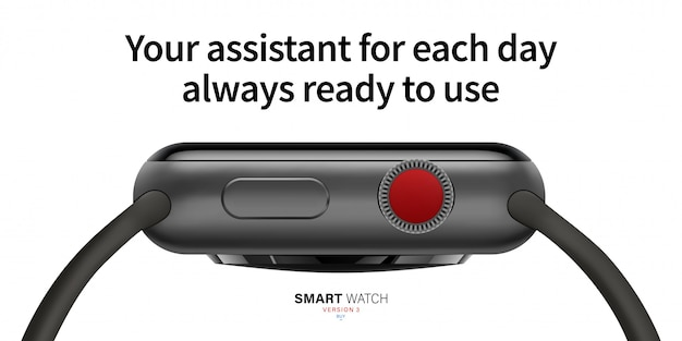 Smart watch black matte color from the side.