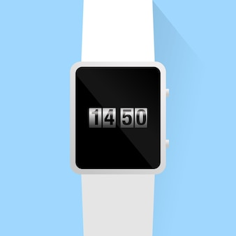 Smart watch black and white color with roll clock image display on blue background