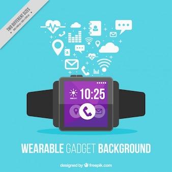 Smart watch on blue background
