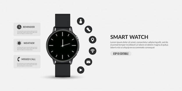 Smart watch for business communication, display different functions and apps icons