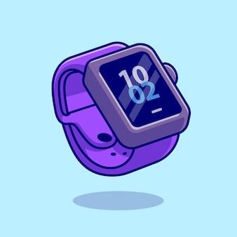 스마트 시계 만화 벡터 아이콘 그림입니다. 기술 개체 아이콘 개념 절연 프리미엄 벡터입니다. 플랫 만화 스타일