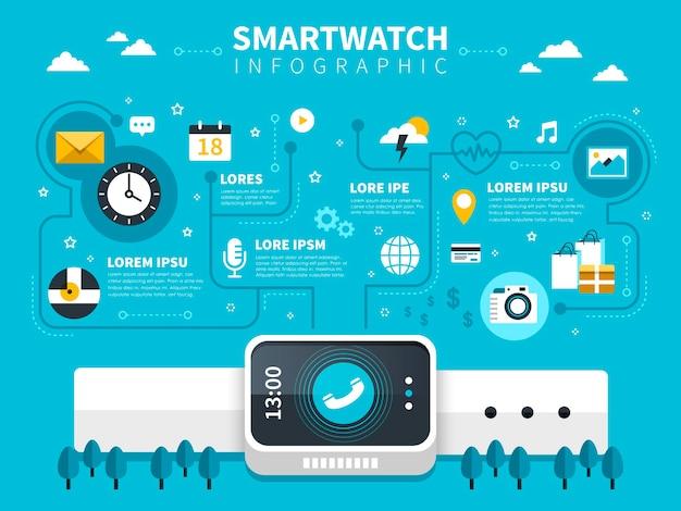 장치 및 앱이 포함된 스마트 시계 개념 평면 디자인