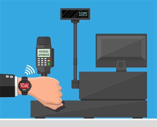 Smart watch contactless payments illustration in flat style