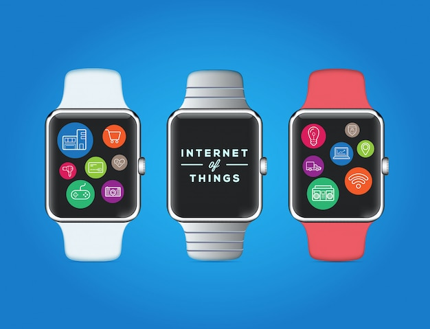 Smart watch design with icons