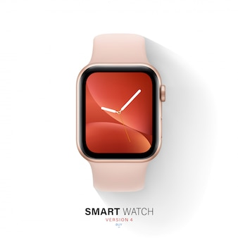 Smart watch gold color aluminum case on white background.