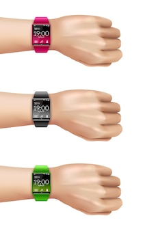 Smart watch on hand decorative icon set