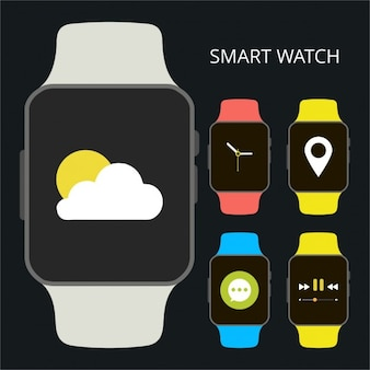 Smart watch icon with different app running