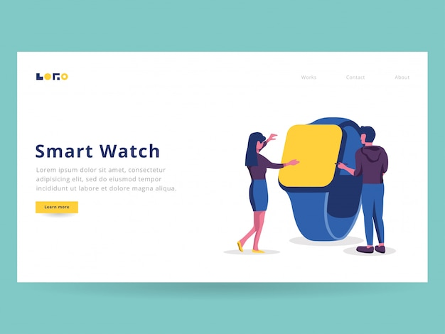 Smart watch illustration for landing page