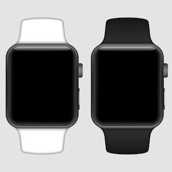Умные часы, изолированные с иконками на белом фоне. иллюстрация.