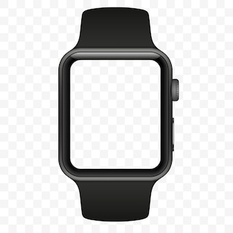 Smart watch isolated with icons on transparent white background. illustration.