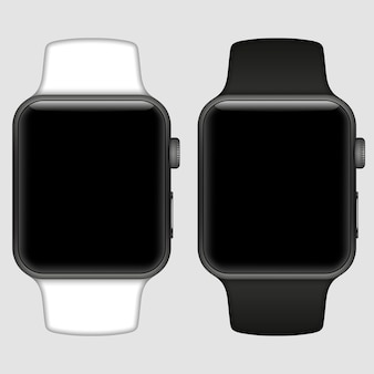 Smart watch isolated with icons on white background. illustration.