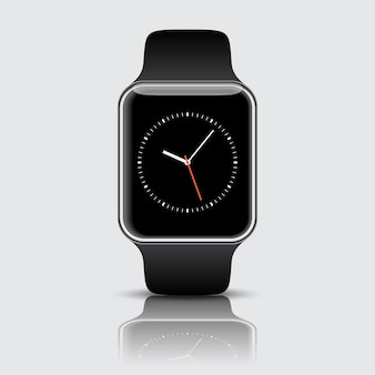 Smart watch isolated with icons on white