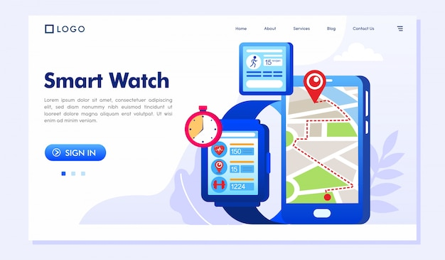 Smart watch landing page website illustration vector