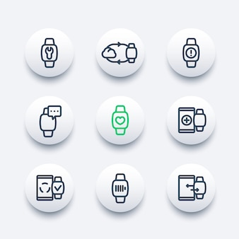Smart watch line icons set