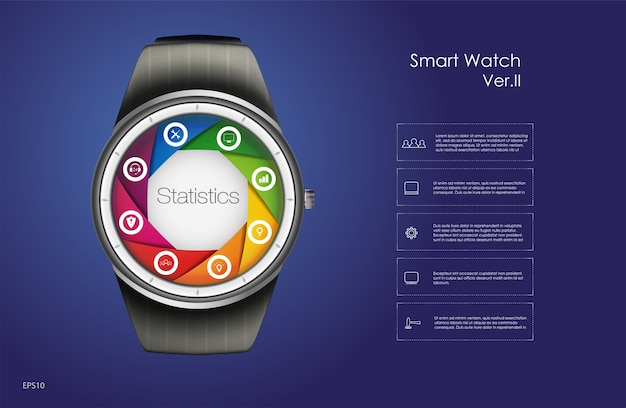 Smart watch main menu concept, blue background,  illustration.