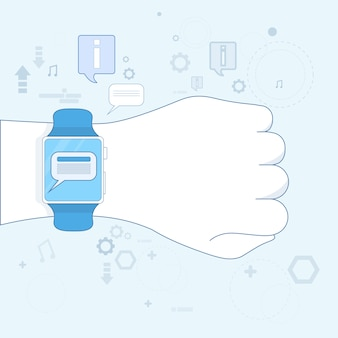 Smart watch new communication technology electronic device icon vector illustration