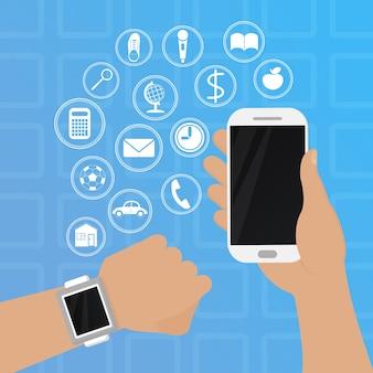 携帯電話のイラストが手にあるスマートな時計